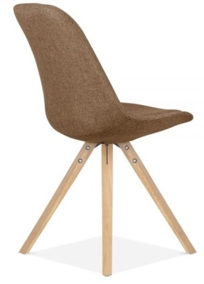 Pyramid Chair In Brown Fabric With Natural Legs Rear Angle