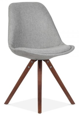 Pyramid Chair In Grey Fabric And Walnut Legs Front Angle
