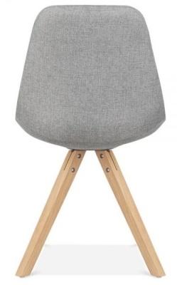 Pyramid Chair Grey Fabric Natural Legs Rear View