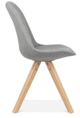 Pyramid Chair Grey Fabric Natural Legs Side View