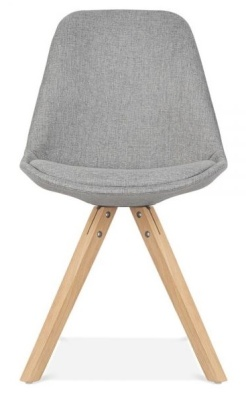 Pyramid Chair Grey Fabric Natural Legs Front View