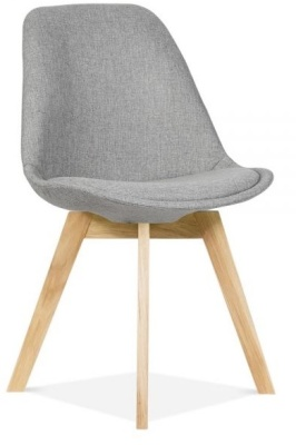 Crosstown Dining Chair Grey Fabric Front Angle