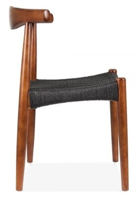 Elow Chair With A Black Weave Seat And Walnyt Frame Side View