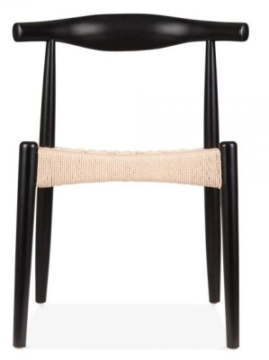 Elbow Chair With A Black Frame And Natural Cord Seat Front View