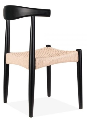 Elbow Chair With A Black Frame And Natiural Cord Seat Front Side