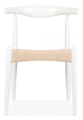 Elbow Chair With A White Frame And A Natural Cord Seat Front View