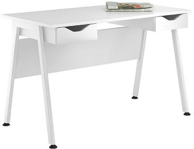Aspire Reflection Desk With Two High Gloss White Drawers