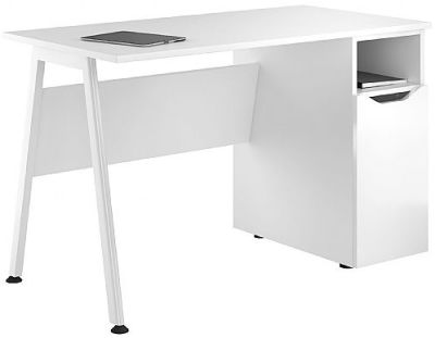 Aspire Reflections Cupboard Desk With A High Gloss Whiote Door