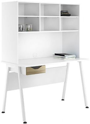 Aspire Refblections Desk With Overhead Storage And A Dark Olive Drawer Front