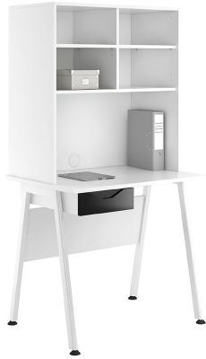 Aspire Reflections Desk With Overhead Storrage And A Black Gloss Drawer Front
