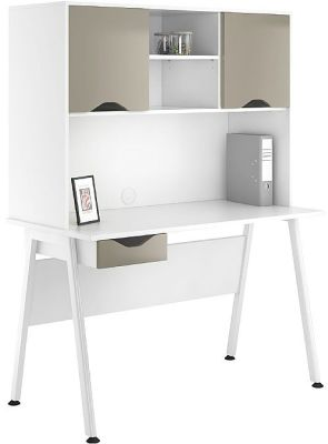 Aspire Reflections Desk And Overhead Cupboard With Stone Finish Drawers