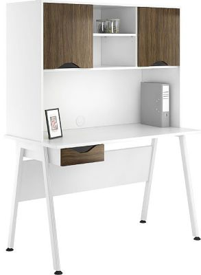 Aspirec Reflections Single Drawer Desk And Overhead Cupboard With Dark Olive Doors