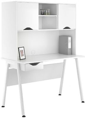 Aspire Reflections Single Drawer Desk And Overhead Cupboard With High Gloss White Doors