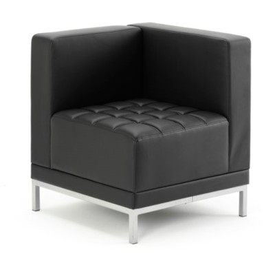 Essex Black Leather Corner Chair