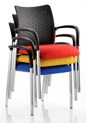 Vector Chair With Arms And Upholstered Seat Shown Stacked