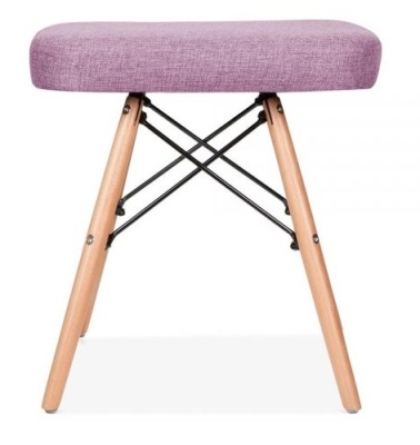 Eames Inspired Low Stool Puirple Fabric Side View