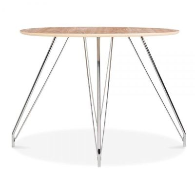 Oslo Table Natural Top Metal Legs Side View 2