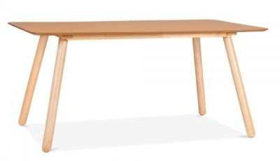 Sydney Rectangular Dining Table Natural Finish Side Angle View