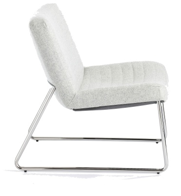 Victory Lounge Chair Light Grey Fabric Side View