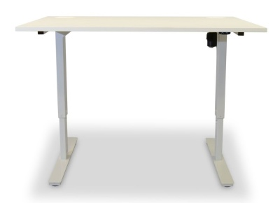 Dynamo Height Adjustable Sit Stand Desk White Top Front View