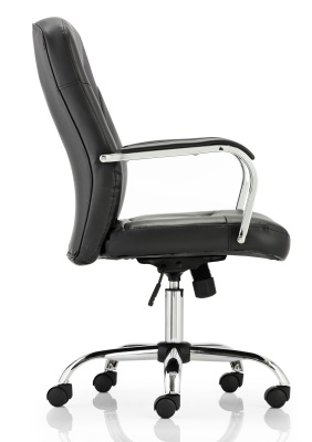 Paris Black Leather Exec Chair Side View