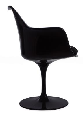 Black Tul;uip Chair Wwith A Black Cushion Side Vioew
