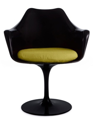 Tulip Chair With A Green Cushion Front Shot