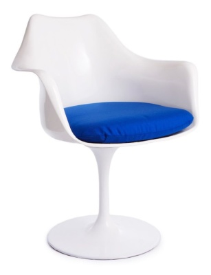 Tulip Chair With A Blue Cushion Front Angle Shot