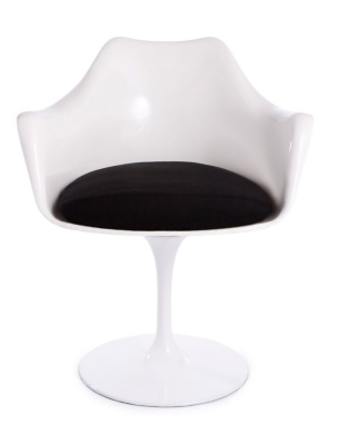 Tulip Chair With A Black Cushion And White Shell Front View