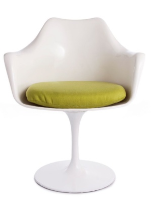 Tulip Chair With A Green Fabric Seat And White Shell Front View