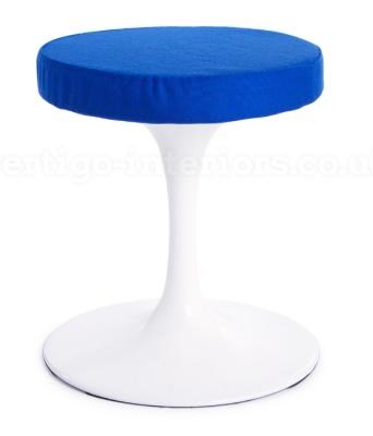 Tulip Low Stool Blue Fabric