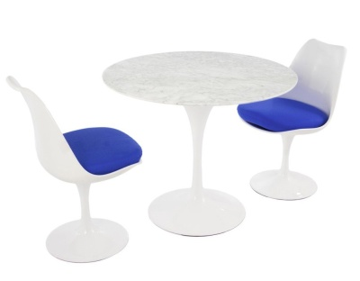 Tulip Dining Sets Wit A Marble Top And Two Chair With Blue Seat Cushions