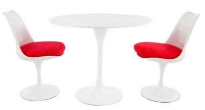 Tulip Dining Set Wit Two Chairs And A Red Fabric Seat 2