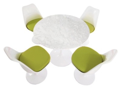 Bistro Set Of Four Chairs And A Round Table Chairs Have Green Cushions