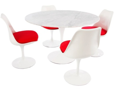 Designer Tulip Dining Set Comprising Four Chairs With A Red Cushion And A Round Table With A Marble Top 1200mm Diamter