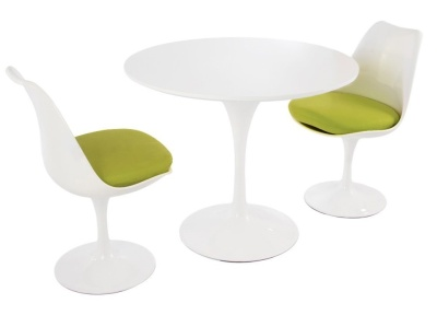 Tulip Dining Set With Two Tulip Chair With A Green Seat Cushion And A High Gloss White Top