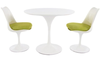 Tulip Dining Set With Two Chairs With Green Seat Cushions And A 900mm Diameter Round Top