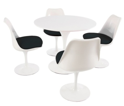 Tulip Dining Set With Four Tulip Chairs With Black Fabric Seats And A Round Table With A Plain Top