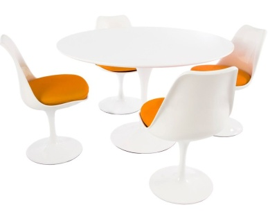Tlip Dining Set With Four Tulip Chairs With An Orqnge Seat And A Large Round Table With A High Gloss White Top