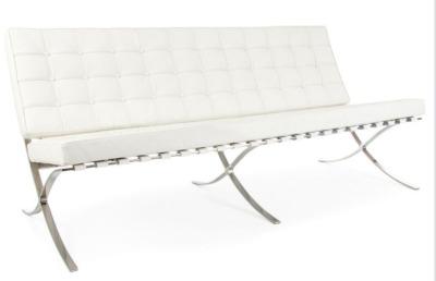 Barcelona Three Seater White Leather Sofa