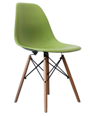 Eames Inspired Dsw Chair Wit A Green Seat Front Angle Shot