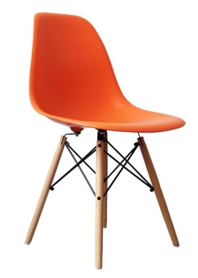 Eames Inspired DSW Childrens Chair With An Orange Seat Angle View