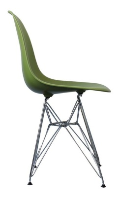 Eames Inspired Dsr Chair In Green Side View