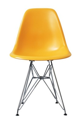 Eames Inspired Dsr Childs Chair In Yellow Front Shot