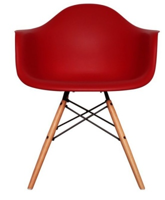 Eames Inspired DAW Childs Chair In Red Front View