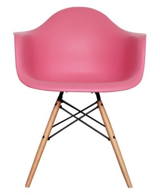 Eames Inspired DAW Childs Chaier In Pink Front View