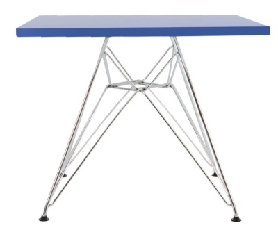 Eames Junior DSR Table With A Square Blue Top