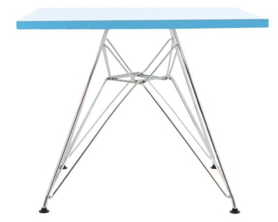 Eames Dsr Square Table With A Light Blue Topp Side View