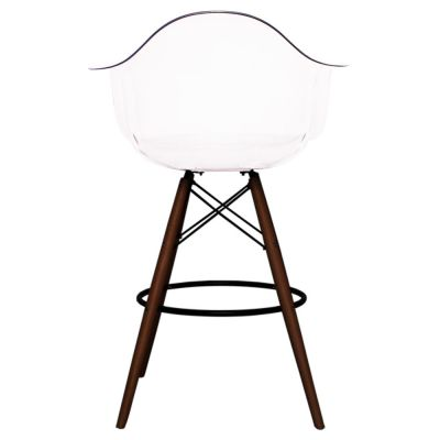 Eames Inspired High Stool With A Clear Seat And Walnut Legs Rear View