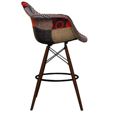 Eames Daw High Stool With A Patchwork Upholstered Seat And Walnut Legs Side View